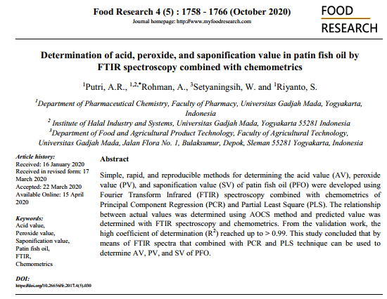 Patin Fish Oil Food Research